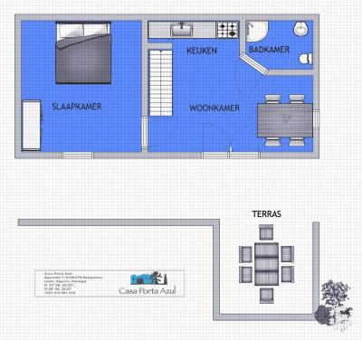 Floor plan 2 person appartement Casa Porta Azul appartement
